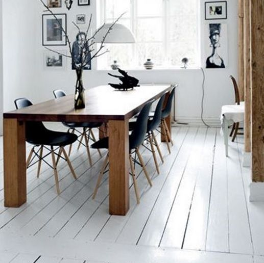 Dining room with white wood floor paint - Dining Room With White Wood Floor Paint Wood Floors Pinterest