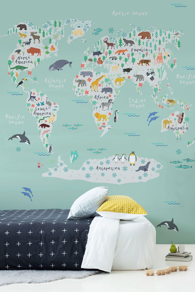 Safari kids map mural wallpaper muralswallpaper are you decorating your kids bedroom this illustrated world map is completely unique and is gumiabroncs Gallery