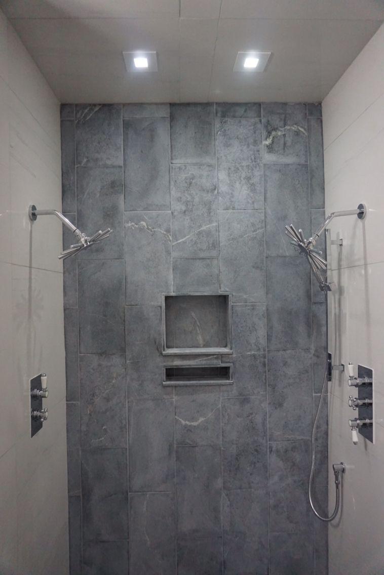 . Soapstone and porcelain shower    Shower   Bathroom  Shower  Home