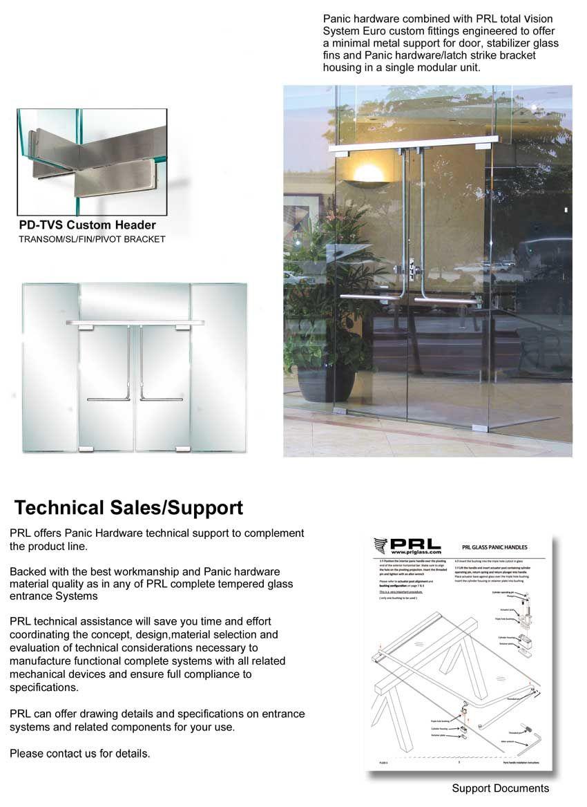 Crash Bar Device Glass Entrance Doors Glass Modular Unit