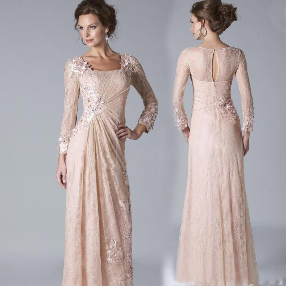 Beach wedding mother of the bride  New Blush Pink Lace Mother Of The Bride Dresses  Long Sleeves
