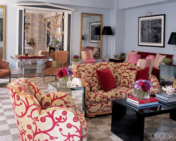 Eclectic Living Room With A Red Pink Gray Black And Gold