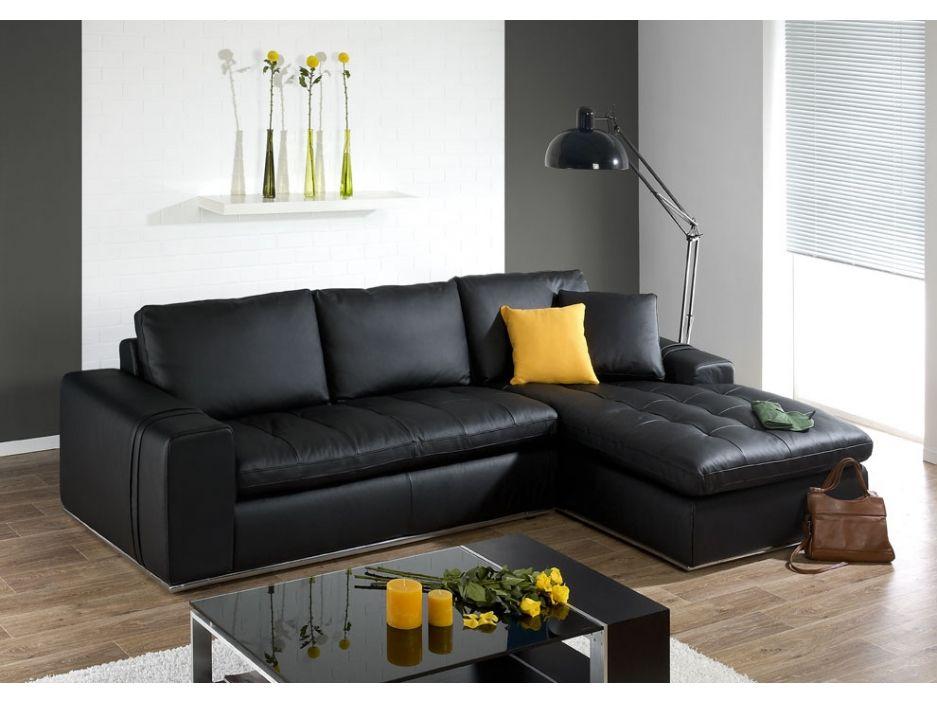 Canapé+d\'angle+cuir+luxe+IDOLE+-+cuir+italien+-+Noir+-+Angle+droit ...
