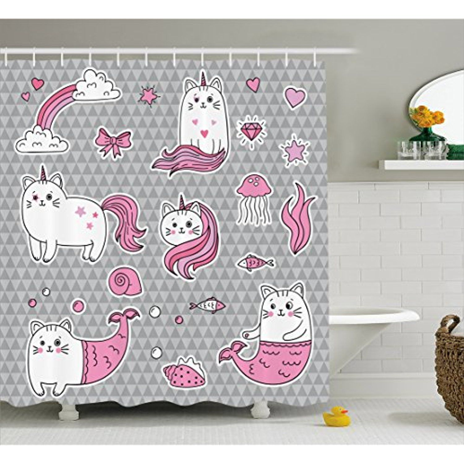 Unicorn Cat Shower Curtain By Ambesonne Cute Cat Unicorn And Mermaid Fishes Bubbles Hearts Underwater Theme F With Images Bathroom Decor Sets Cat Shower Curtain Curtains