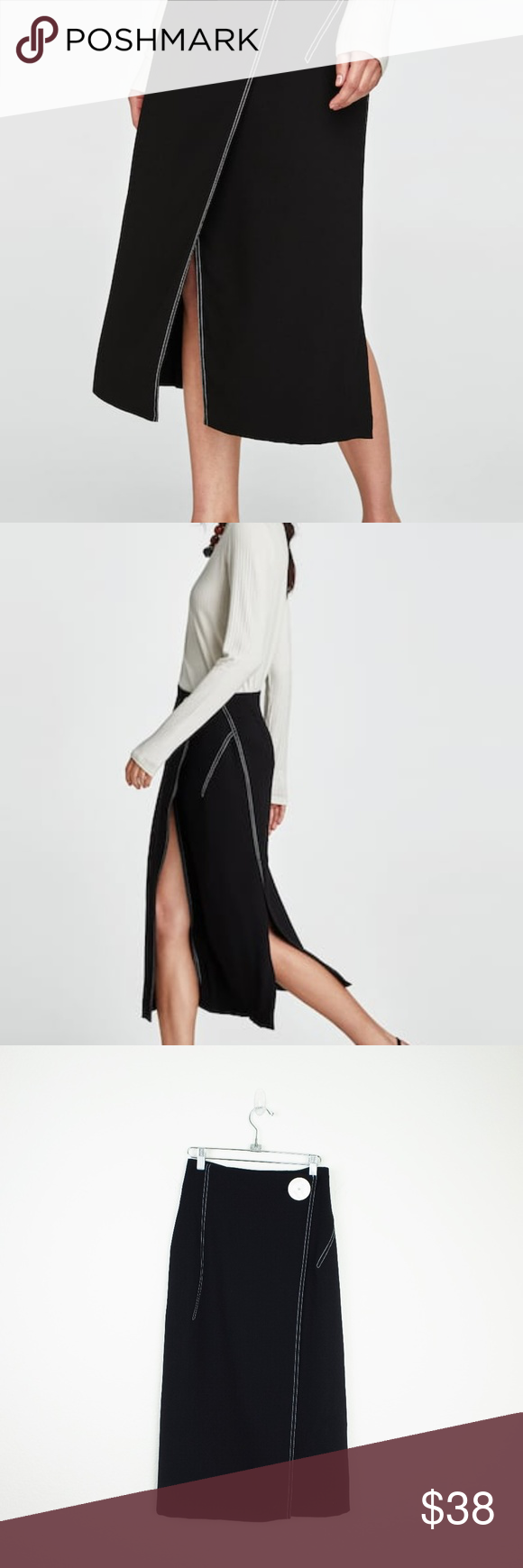 bfb1bd60 Zara black contrast stitching midi skirt Flowing midi wrap skirt with contrasting  topstitch detail. Fastens in the front with a maxi button.