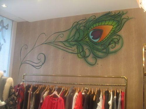 feathers interior mural peacocks wall art PEACOCK walls