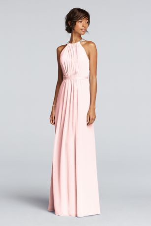 ad0a3a6e050 Wonder by Jenny Packham- Exclusively at David s Bridal. Long sheer chiffon  dress with cutaway clear beaded necklace and keyhole back.