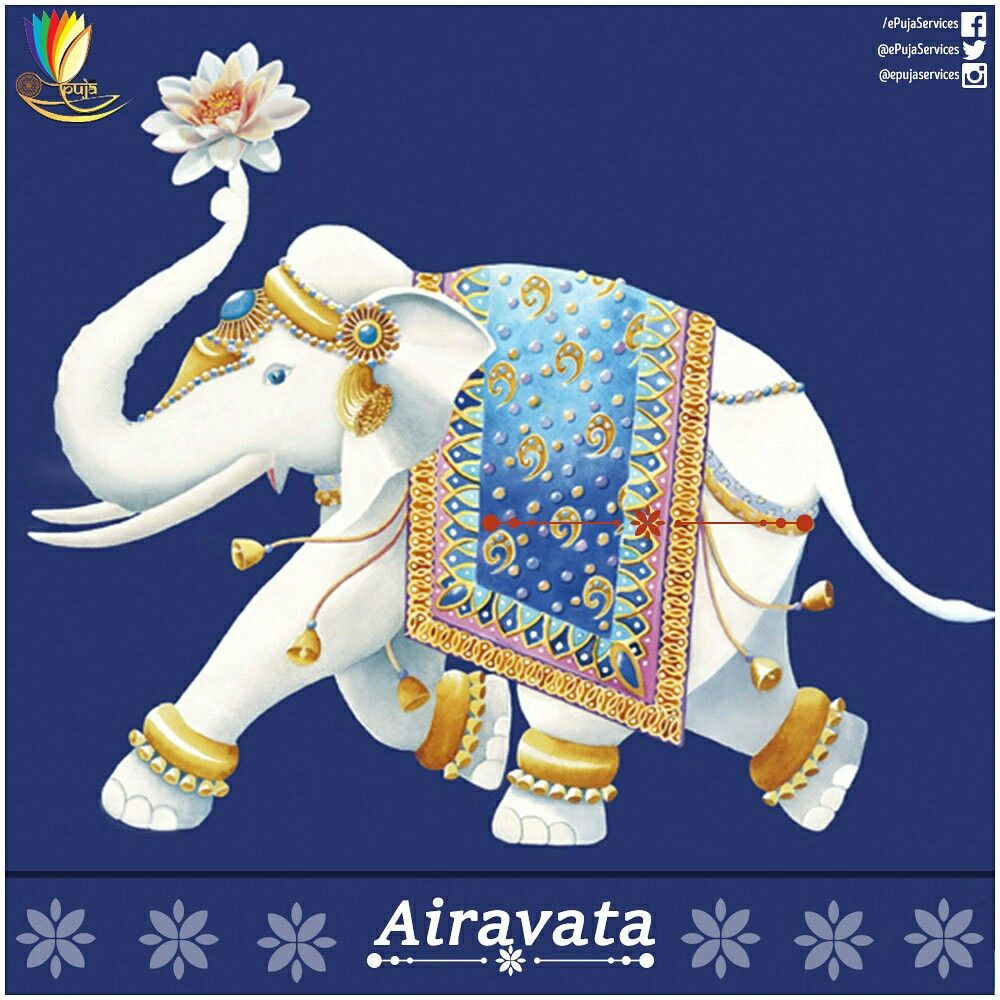 Airavata The Divine White Elephant Who Is The Vahana Of Lord Indra Is Also Called The Elephant Of The Clouds White Elephant Elephant Lakshmi Images