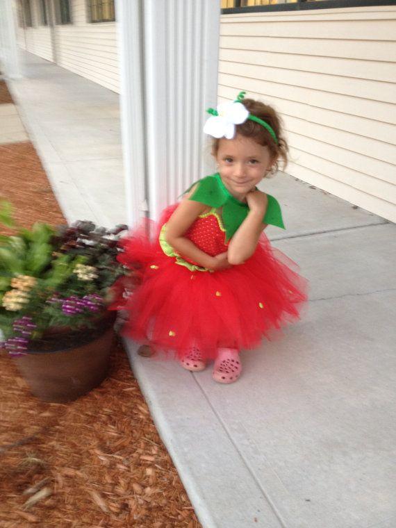 Sassy Strawberry Halloween Costume - (4 pc set) Strawberry Tutu, Corset Top, Leaf collar, flower hairpiece (NB-2T)(Strawberry take 2)