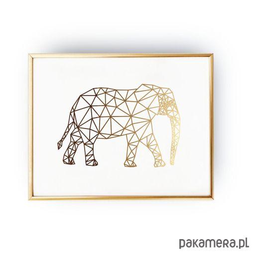 Plakat Geometryczny Słoń Złoty Druk Przedpokój W 2019