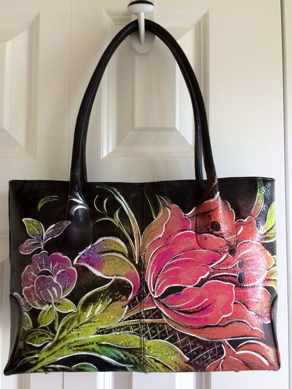 2e4b30fa6e Hand Painted Purse Color is the New Black by Scheibershop on Etsy ...