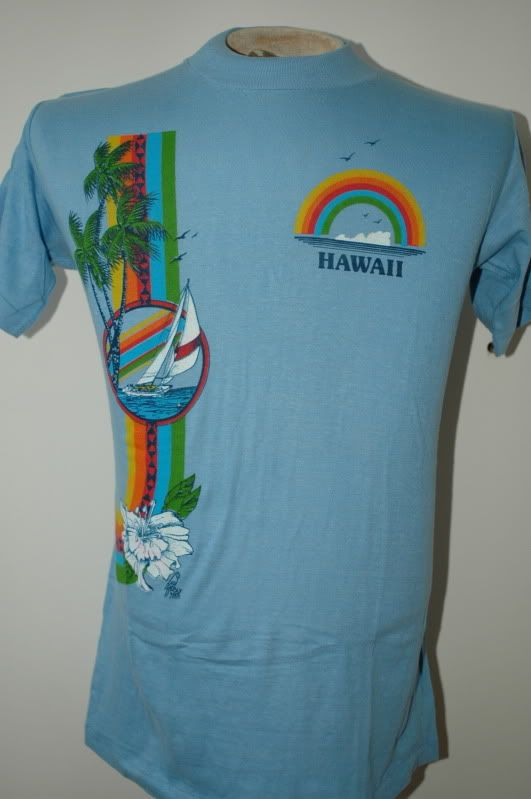 72d7bcb53ff5 Vintage 70s Hawaii T Shirt Deadstock Poly Tees Surf M | Tees in 2019 ...