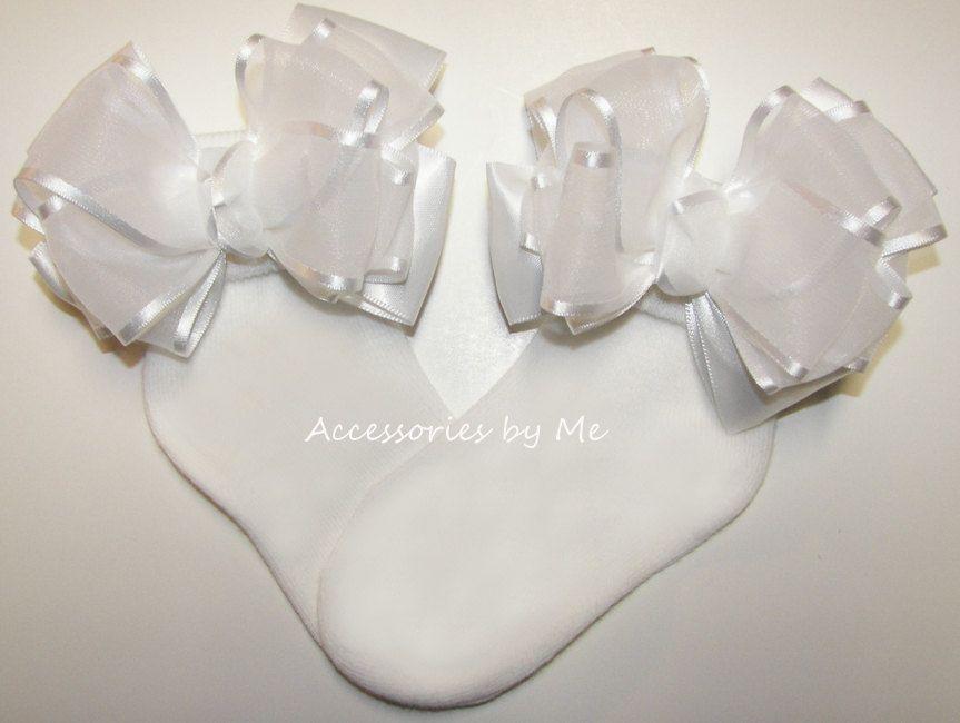 Pageant White Socks Ruffle Trim Nylon Baby Infant Toddler Christening Baptism