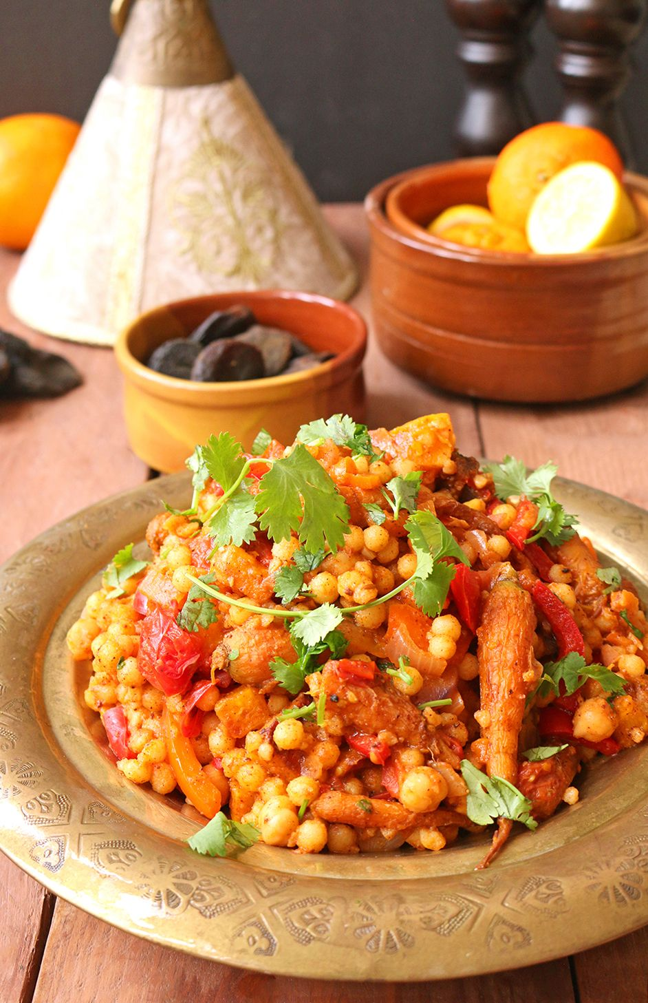 Moroccan-style Moghrabieh Couscous | One Arab Vegan