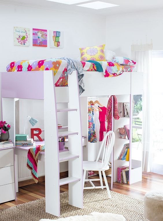 Space Saving Loft Bed Idea For A Little Girl S Bedroom Great