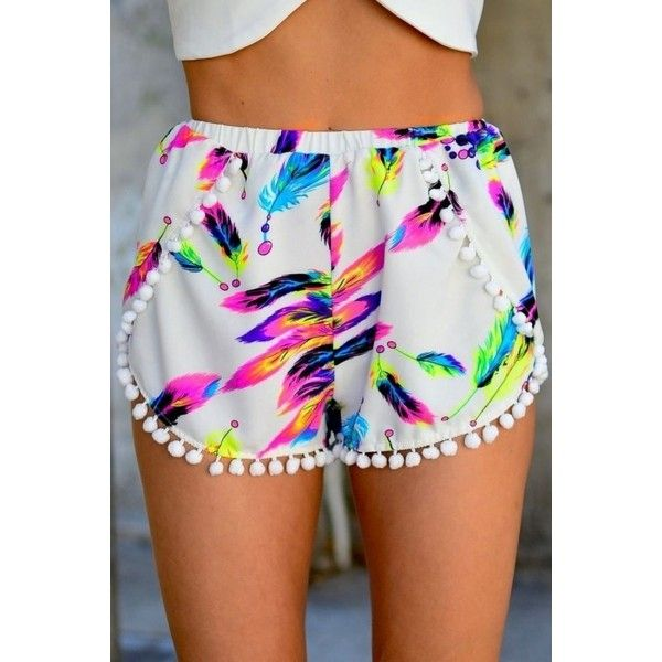 Multi-color Feather Print Elastic Waist Shorts ($15) ❤ liked on Polyvore featuring shorts, white, pompom shorts, multi colored shorts, elastic waist shorts, pom pom shorts and embellished shorts