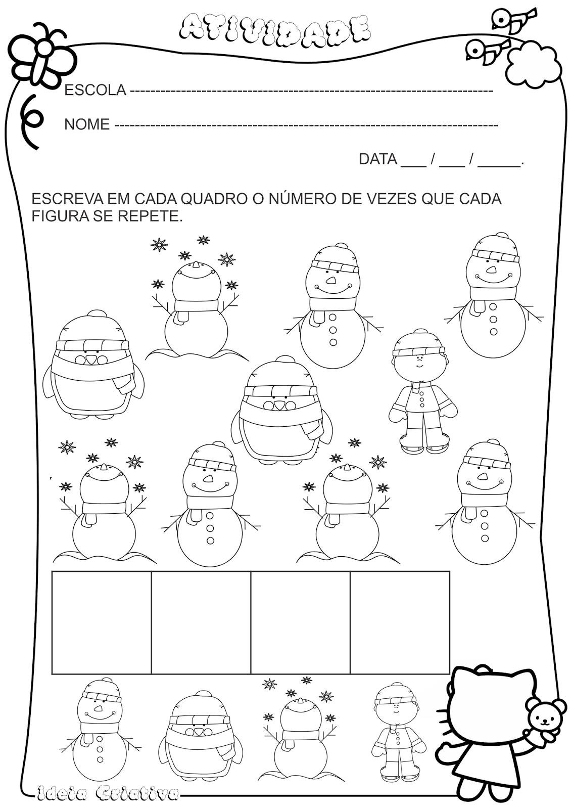 Atividade Inverno Número e Quantidade | INVERNO | Pinterest ...