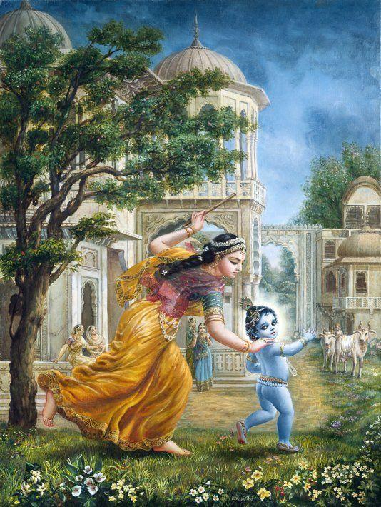 Yashoda Running After Child Krishna Oil Painting Oil On