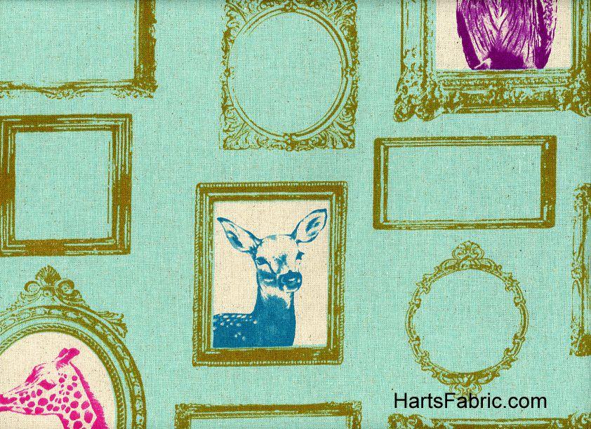 Echino Framed Animal Fabric Mint