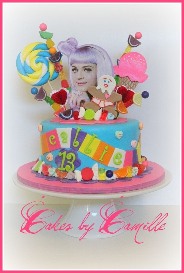 Magnificent Katy Perry Californa Girls Cake Katy Perry Birthday Candyland Personalised Birthday Cards Veneteletsinfo