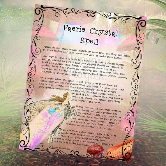 Faerie Crystal Spell Digital Download Wishing Spell Faerie Book