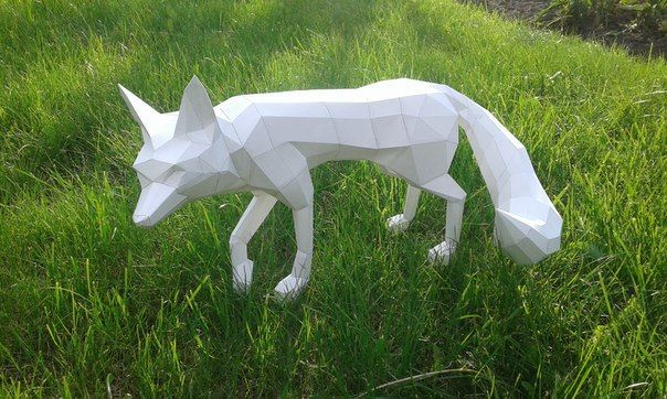Animal Paper Model A Fox Ver 2 Free Papercraft Download Paper Models Papercraft Printable Paper Animals
