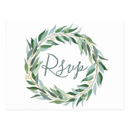 Photo of Watercolor eucalyptus wreath RSVP Postcard   Zazzle.com