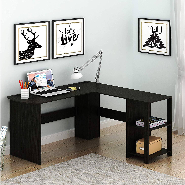 Shw L Shaped Home Office Wood Corner Desk Espresso Wood Corner