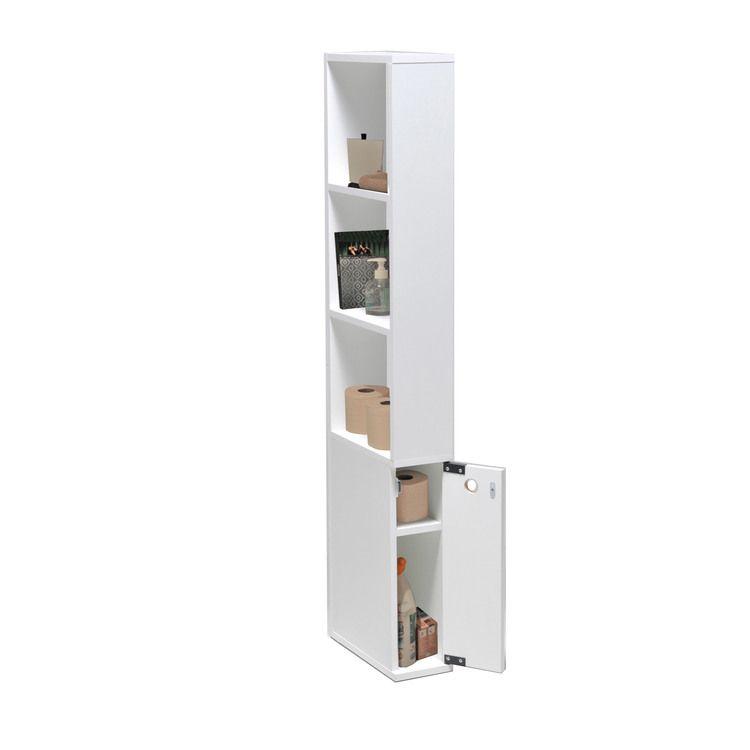 Meuble de toilette en bois 1 porte 3 étagères ALASKA WC et SDB - Conforama Meuble De Cuisine