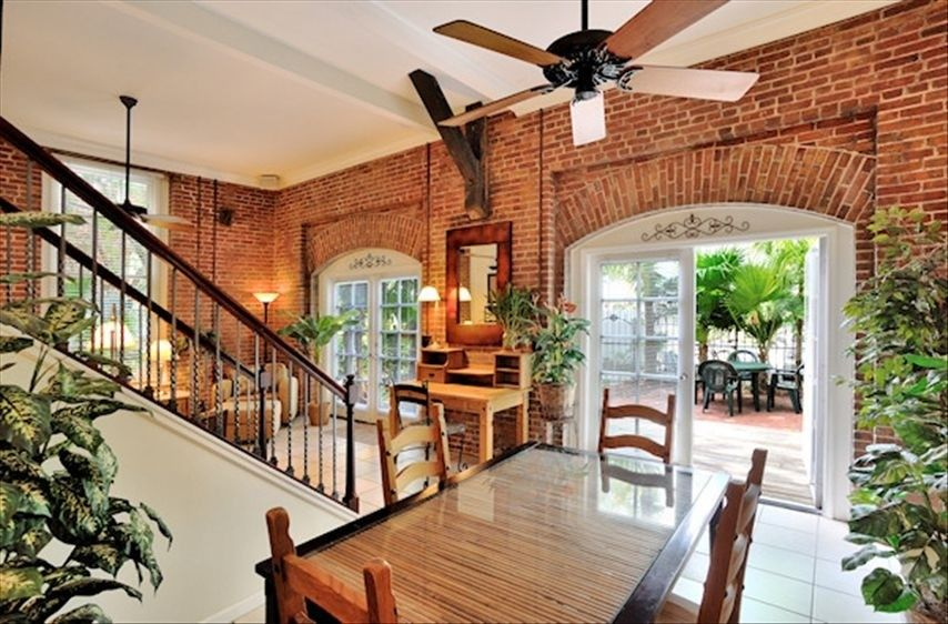 Garden Walk Dining: Dining Room With Exposed Brick - Walk Out To Garden