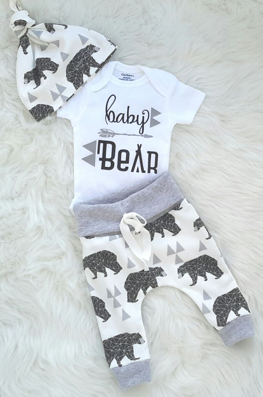 Coming Home Outfit Bear Print Pants Woodland Set Newborn Photo Prop Newborn Boy Pant and Hat Newborn Bear Print Set Baby Boy Leggings