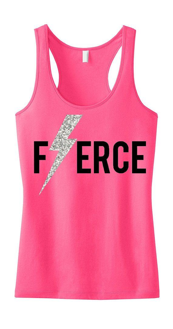 Items similar to FIERCE Glitter Lightning Workout Tank Top, Workout Clothing, Workout Tanks, Gym Tank, gym tank top, Motivational, Workout Shirt, Fitness on Etsy