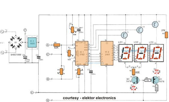 How To Make A Digital Voltmeter Ammeter Circuit Module Digital Ammeter Electronics Circuit Electronic Schematics