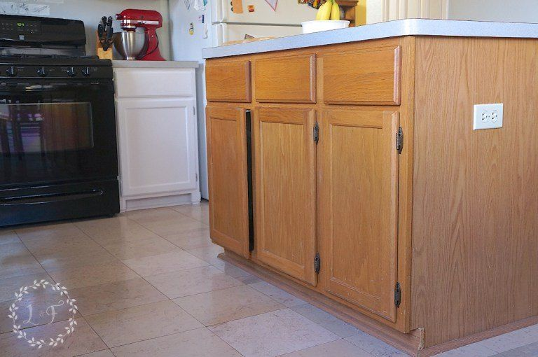 How To Update A Builder Grade Kitchen Island With Trim And Paint Kitchen Island Makeover Builder Grade Kitchen Diy Kitchen Island