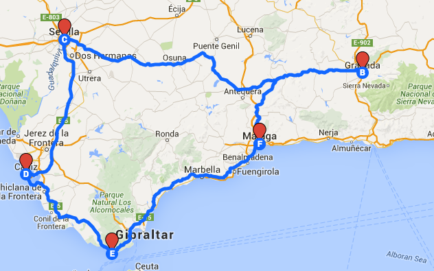 Karte Andalusien Portugal.Roadtrippin Durch Andalusien Reise Andalusien Rundreise