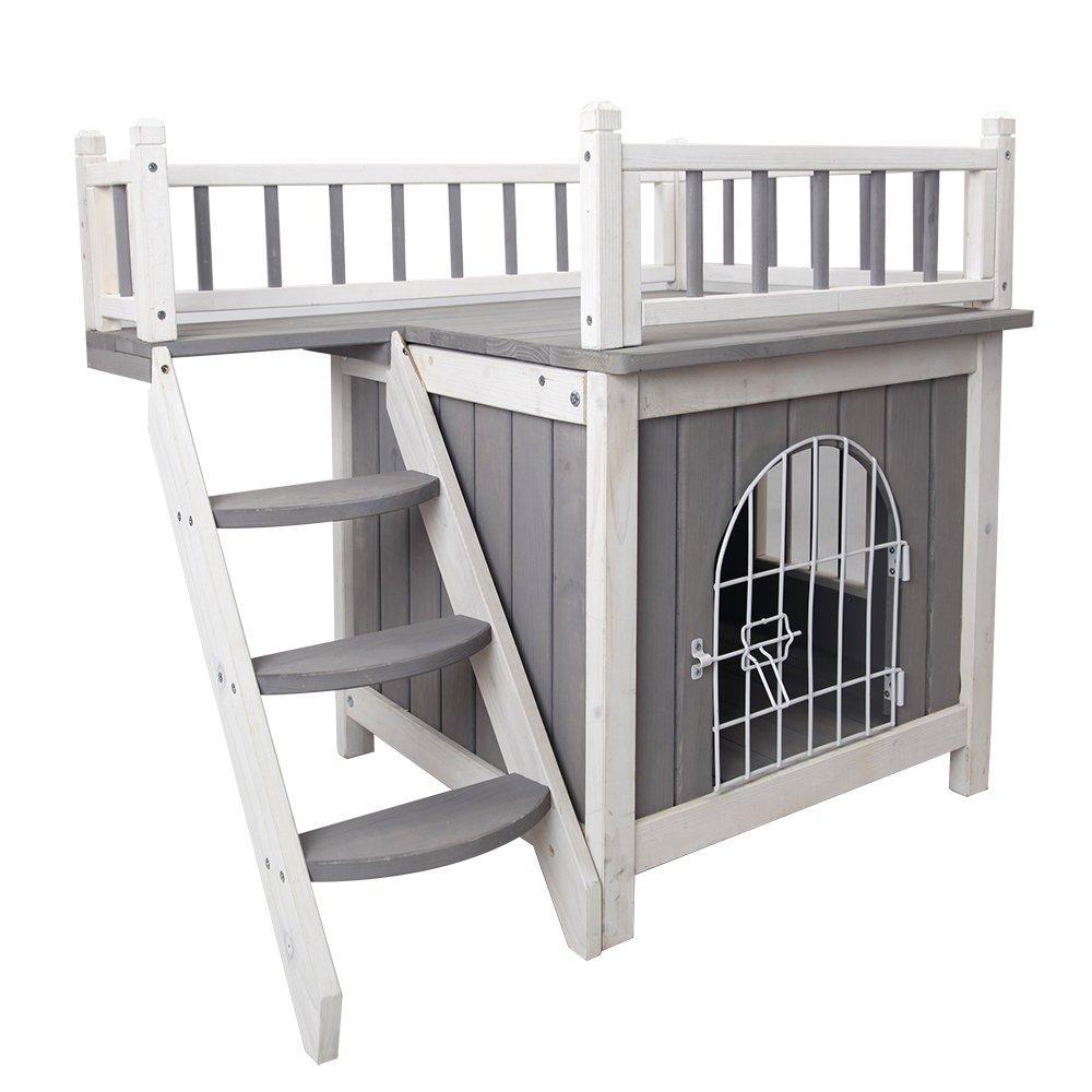 Petsfit Indoor Wooden Dog Pet Cat House With Stairs Indoor Dog House Large Dog House Cat Houses Indoor