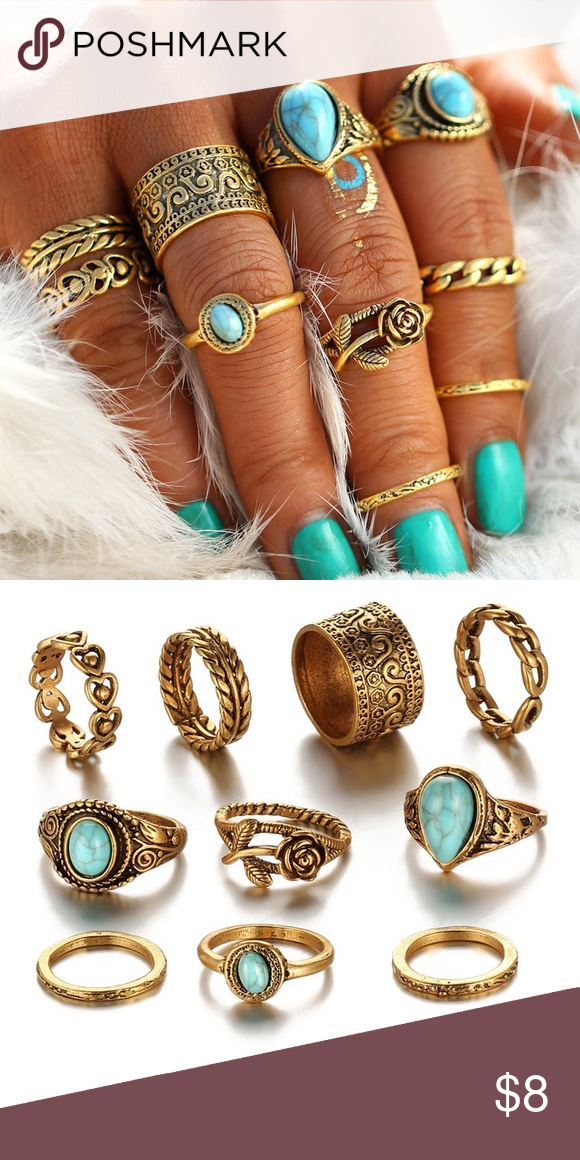 10 piece set of faux gold rings Gold rings Gold rings jewelry and