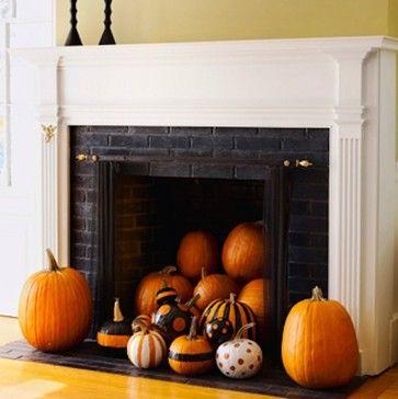 Halloween Mantel - Pumkins in Fireplace celebrate Pinterest