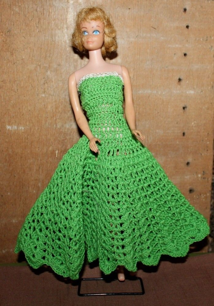 Vintage Hand Crocheted Dress Made For Barbie Dolls Green Gown 1963 ...