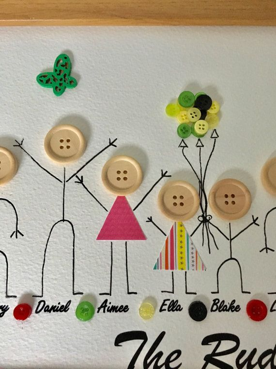 Items similar to Family button frame, uk personalised gift, grandparent gift, stick people, grandchildren art, unique gift, jamaican themed on Etsy