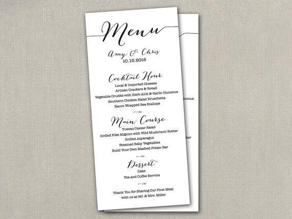 Wedding menu card DIY wedding menu printable by SAEdesignstudio - wedding menu
