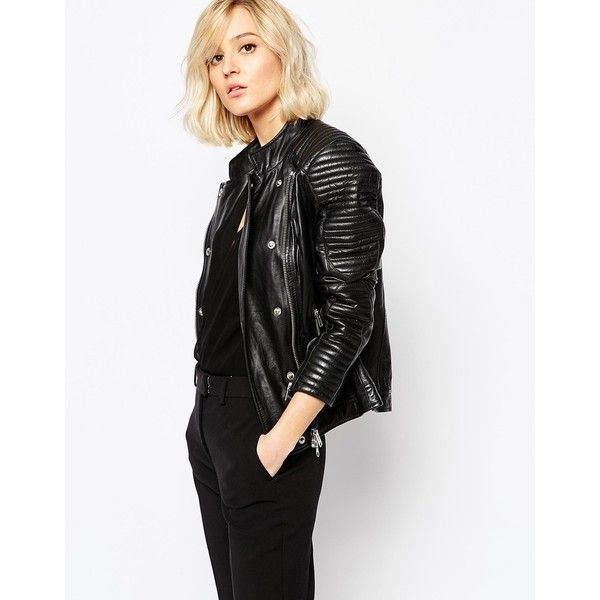 Gestuz Leather Jacket with Studs (580 CHF) ❤ liked on Polyvore featuring outerwear, jackets, black, studded jacket, tall leather jacket, leather jacket, studded leather jacket i asymmetrical zipper jacket