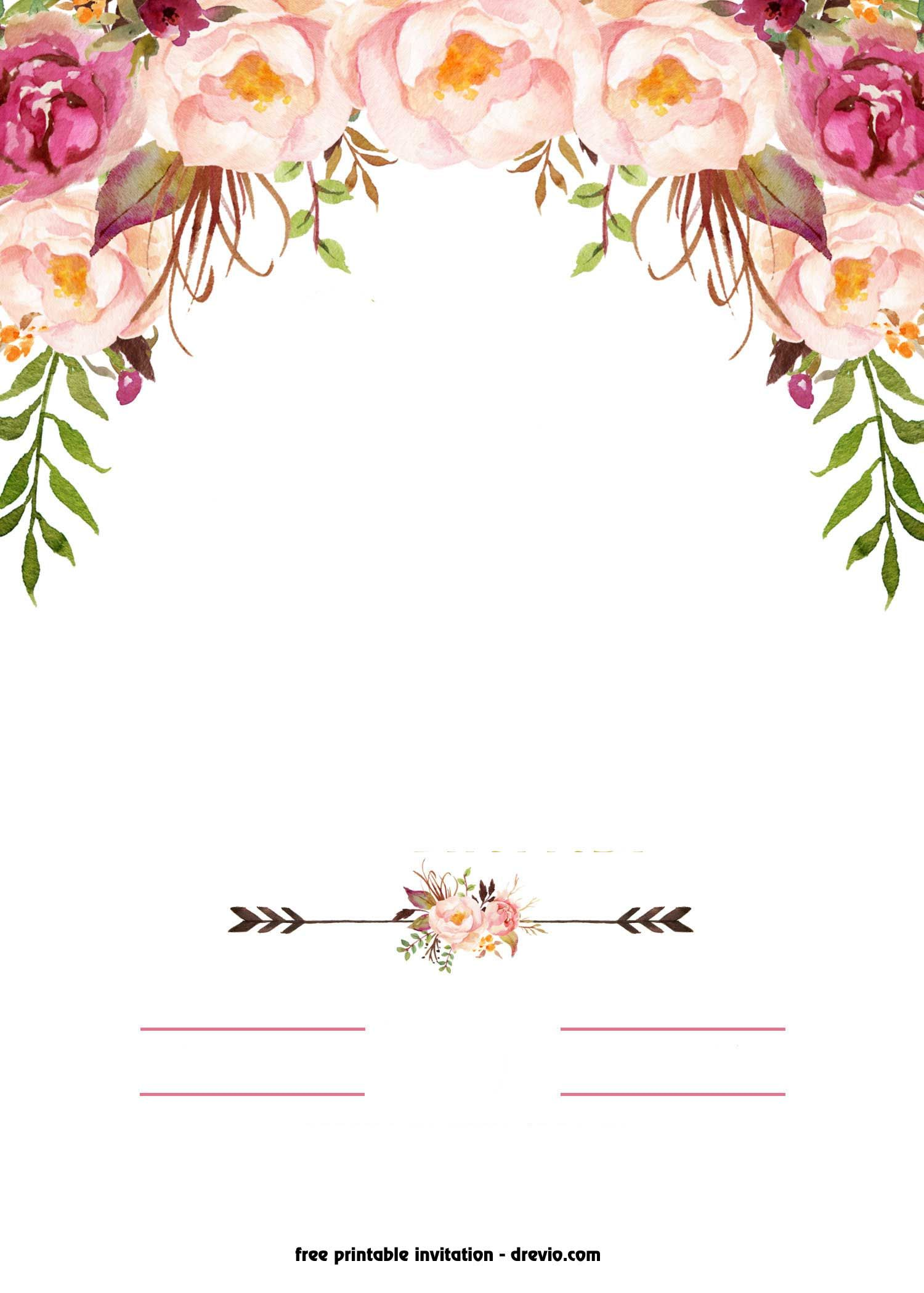 free printable boho chic flower baby shower invitation template