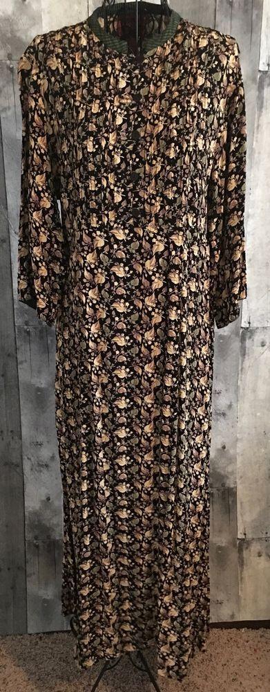 April Cornell Pleated Maxi Dress Floral Leaf Print Stripe Tie Back Size Medium #AprilCornell