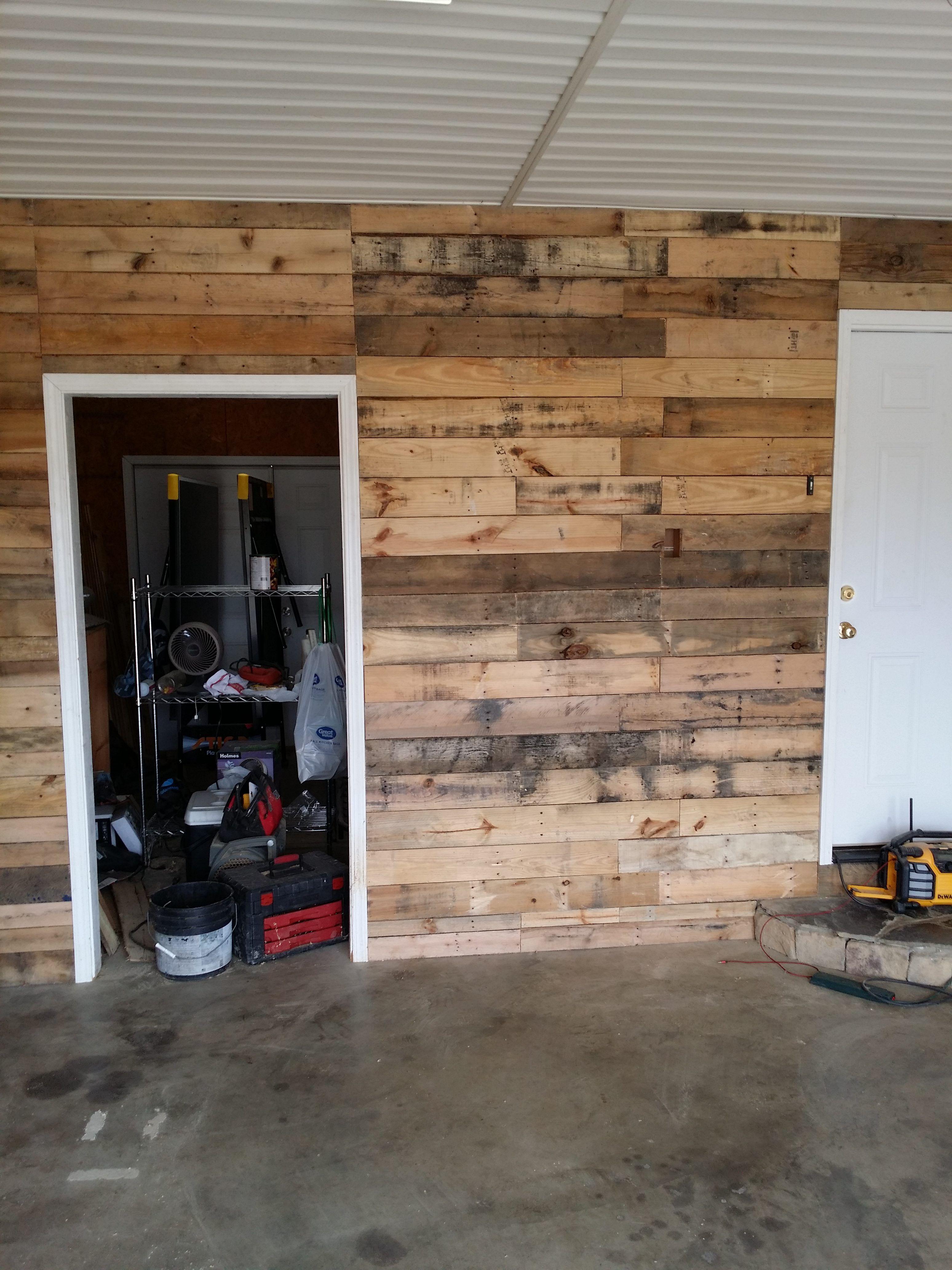 Garage Transformed Into Super Pallet Garage Garage Walls Garage Decor Garage Interior