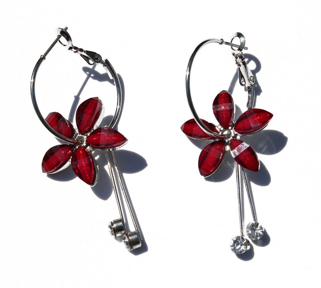 Fashion hawaii plumeria flower resin hoop earrings in red hawaiian fashion hawaii plumeria flower resin hoop earrings in red izmirmasajfo