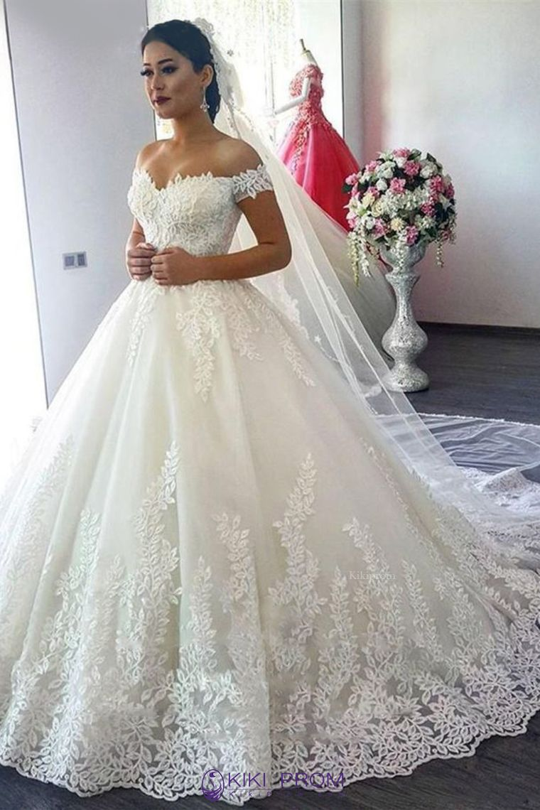 off the shoulder a line wedding dresses tulle with applique