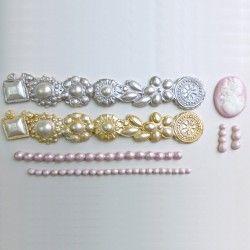 Karen Davies Siliconen Mould - Brooch Border Pearls Cameo