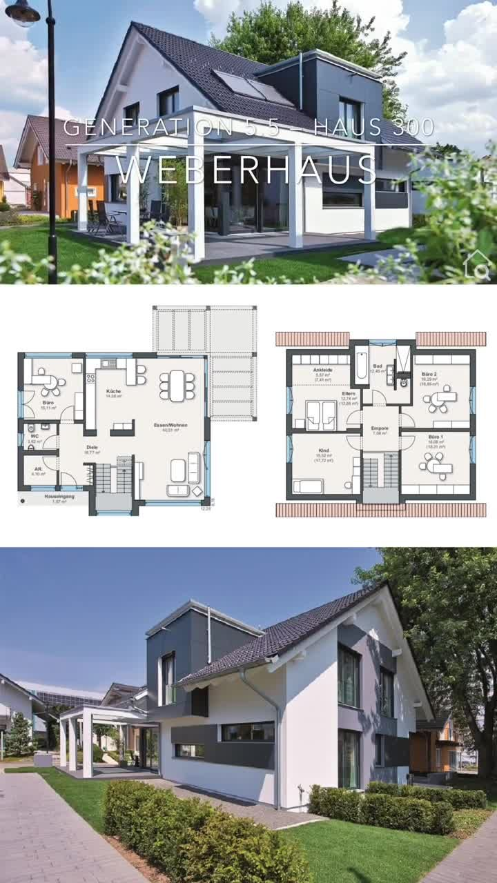 Build a modern house design with a pitched roof, single-family house floor plan modern open, 6 rooms, 180 sqm  – HausbauDirekt