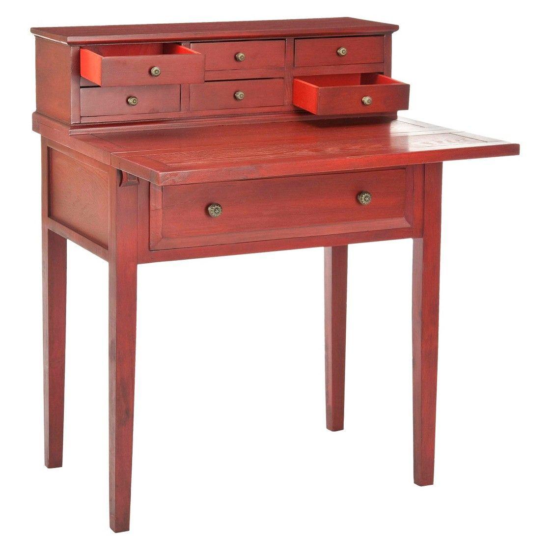 Catalonia Wood Writing Desk With Drawers Cherry Safavieh Schreibtisch Umklappen Schreibtisch Holz Mobelideen